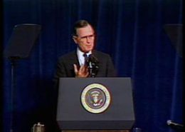 Television news report on President HW Bush's speech in San Francisco