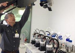 Shooting laboratory equipment from a camera jib.