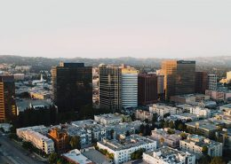 Drone shot of high rise buildings in Los Angeles