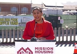 Mayor London Breed speaking at a Mission Housing groundbreaking ceremony.