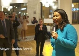 Mayor London Breed speaking at a United Resistance Party