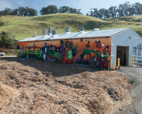 Colorful barn in the hills of San Leandro
