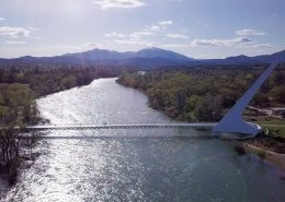 Drone shot of Sacramento River with Sundial Bridge