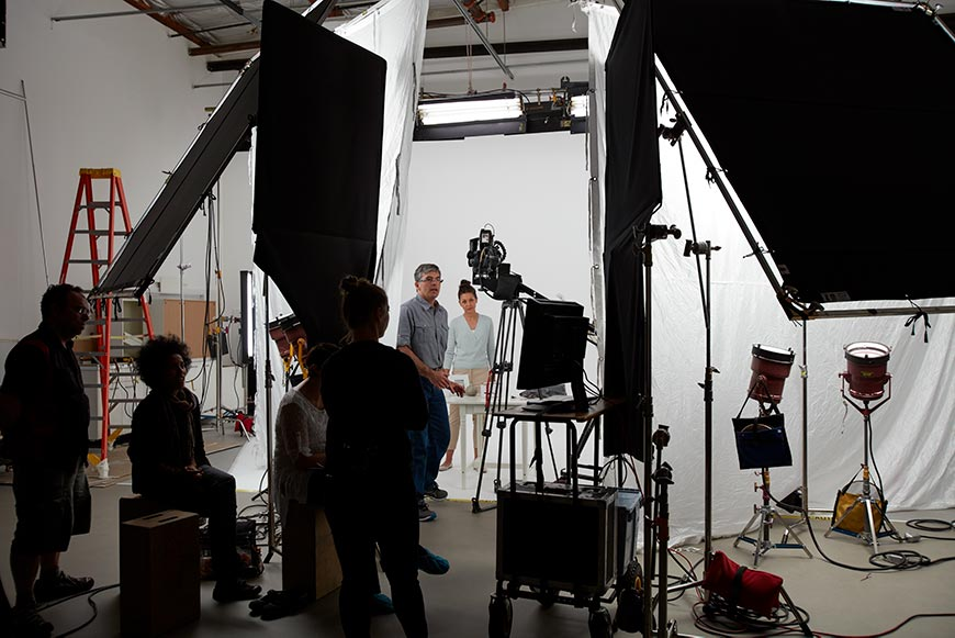 Video shoot in a San Francisco all-white studio