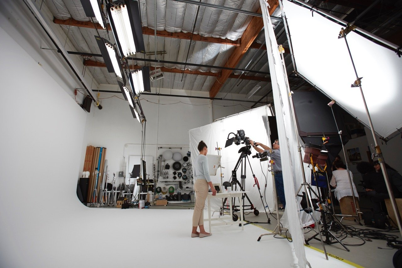 Video Production in a white studio